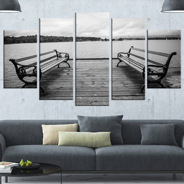 Design Art Benches On Bridge By Water Side BridgeCanvas Art Print - 4 Panels