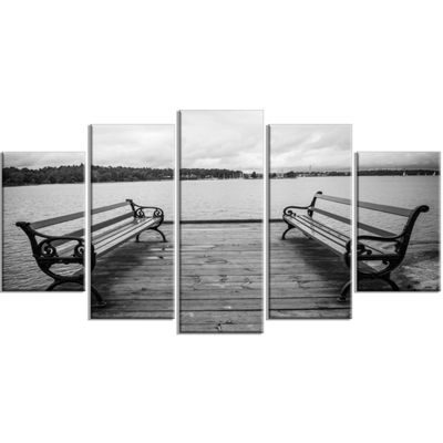 Designart Benches On Bridge By Water Side BridgeWrapped Canvas Art Print - 5 Panels