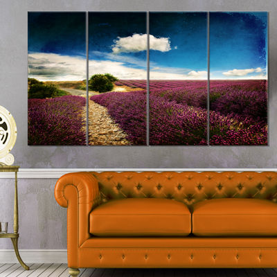 Designart Lavender Field With Dramatic Blue Sky Large Landscape Canvas Art - 4 Panels