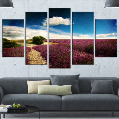 Designart Lavender Field With Dramatic Blue Sky Large Landscape Wrapped Canvas Art - 5 Panels