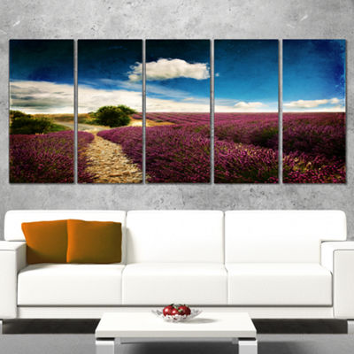 Designart Lavender Field With Dramatic Blue Sky Large Landscape Canvas Art - 5 Panels
