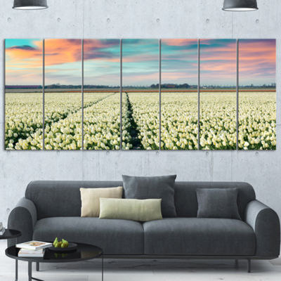 Designart Morning In Tulip Farm Near Espel VillageLarge Landscape Canvas Art - 4 Panels