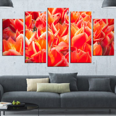 Designart Tulip Flowers In The Keukenhof Park Floral Canvas Art Print - 4 Panels