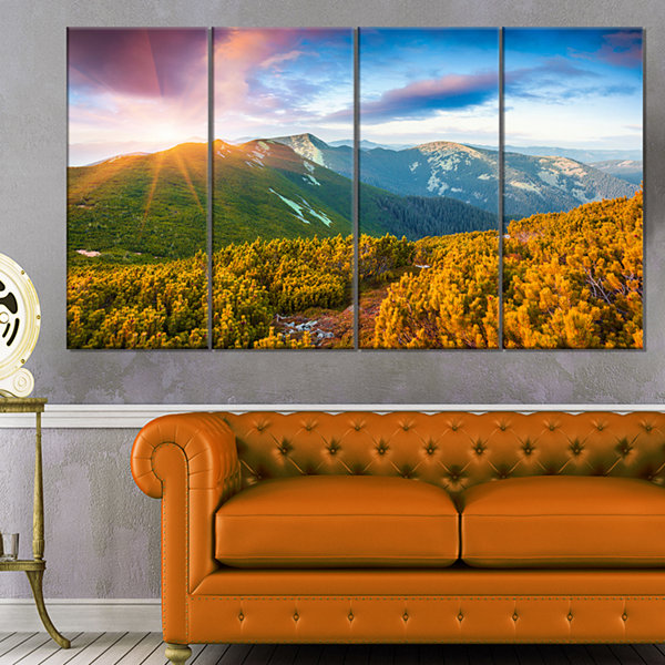 Designart Bright Sunrise In Carpathian MountainsLandscape Canvas Art Print - 4 Panels