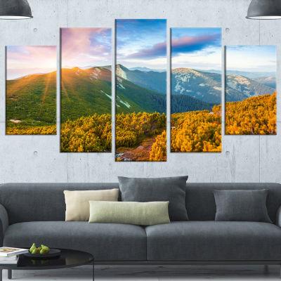 Designart Bright Sunrise In Carpathian MountainsLandscape Wrapped Canvas Art Print - 5 Panels