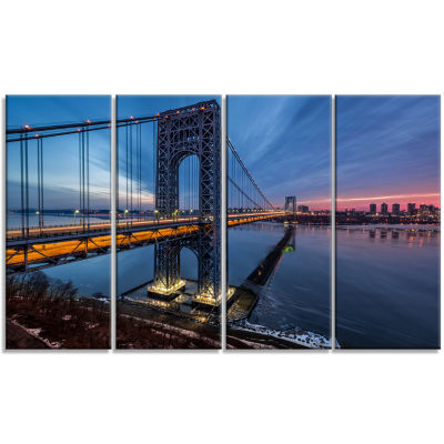 George Washington Bridge Large Cityscape Art PrintOn Canvas - 4 Panels