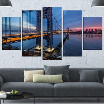 Designart George Washington Bridge Large CityscapeArt PrintOn Wrapped Canvas - 5 Panels