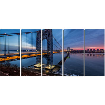 Designart George Washington Bridge Large CityscapeArt PrintOn Canvas - 5 Panels