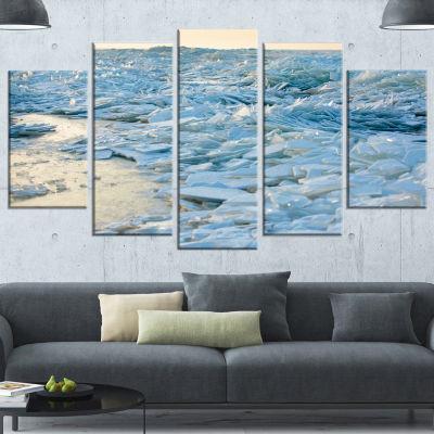 Designart Baltic Sea Winter Landscape Landscape Wrapped Canvas Art Print - 5 Panels