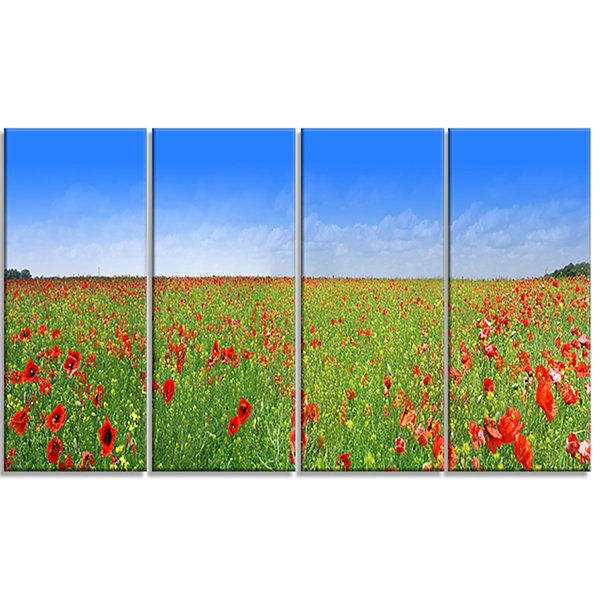 Designart Poppy Meadow Panorama Landscape CanvasArt Print -4 Panels