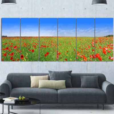 Designart Poppy Meadow Panorama Landscape CanvasArt Print -6 Panels