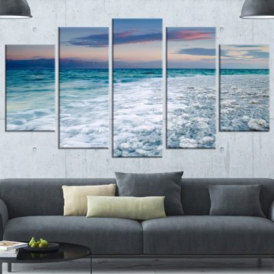 Designart Beautiful Sunrise At Dead Sea SeashoreWrapped Canvas Art Print - 5 Panels
