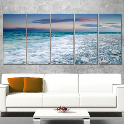 Designart Beautiful Sunrise At Dead Sea SeashoreCanvas Art Print - 5 Panels