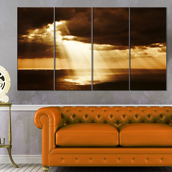 Designart Dramatic Sunset With Sunrays LandscapeCanvas Art Print - 4 Panels