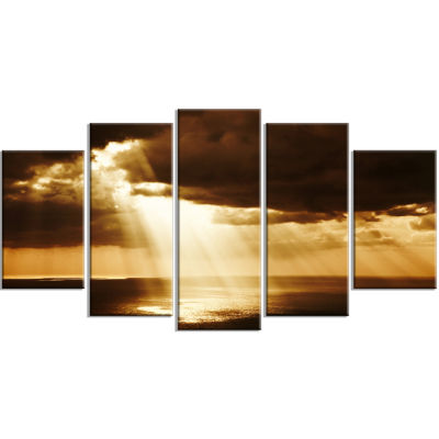 Dramatic Sunset With Sunrays Landscape Wrapped Canvas Art Print - 5 Panels