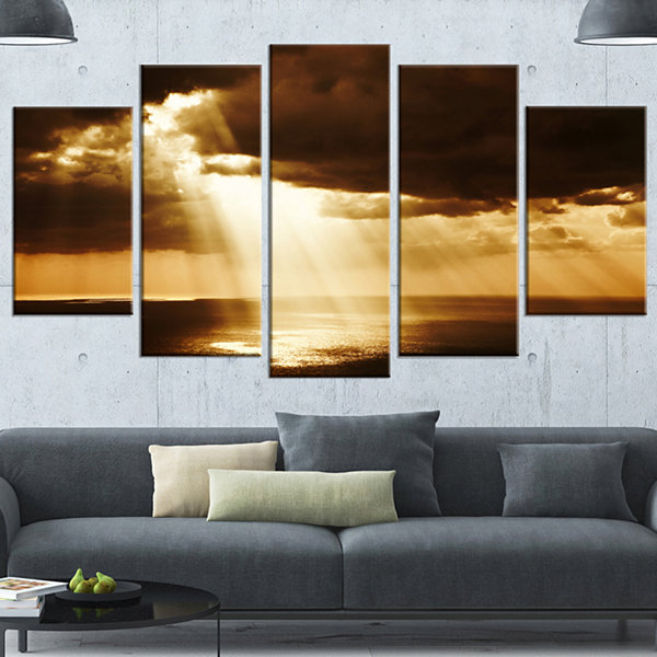 Design Art Dramatic Sunset With Sunrays LandscapeWrapped Canvas Art Print - 5 Panels