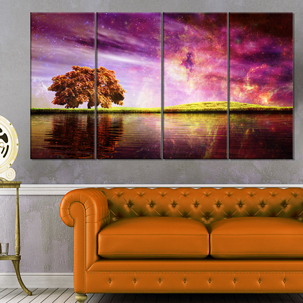 Design Art Magic Night With Colorful Clouds Landscape Canvas Art Print - 4 Panels