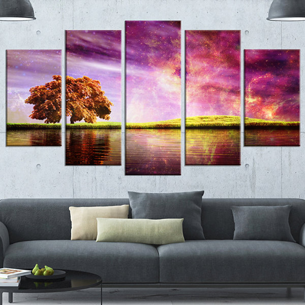 Design Art Magic Night With Colorful Clouds Landscape Wrapped Canvas Art Print - 5 Panels