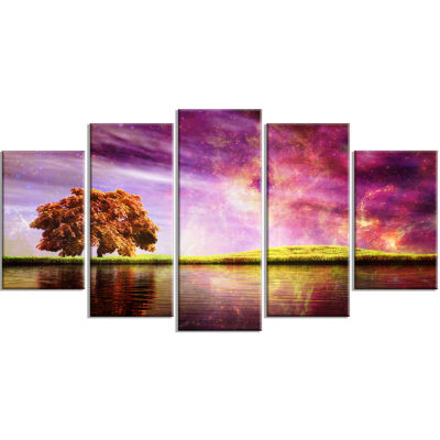 Magic Night With Colorful Clouds Landscape WrappedCanvas Art Print - 5 Panels