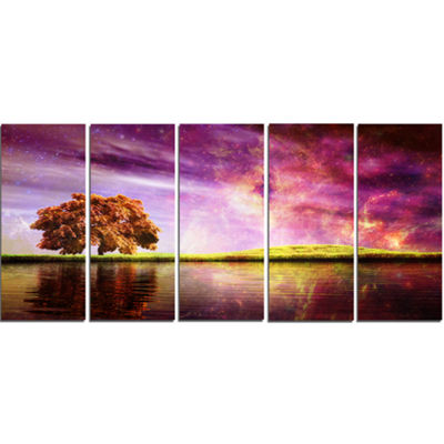 Designart Magic Night With Colorful Clouds Landscape Canvas Art Print - 5 Panels