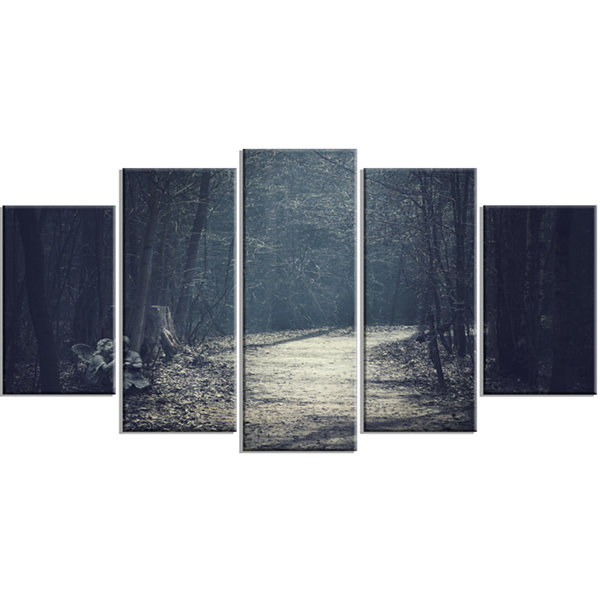 Design Art Dark Forest With Empty Road Forest Wrapped Canvas Art Print - 5 Panels