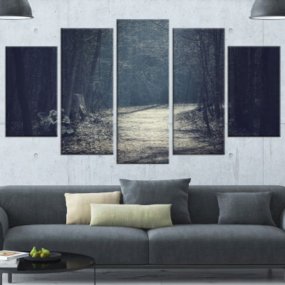Dark Forest With Empty Road Forest Canvas Art Print - 5 Panels