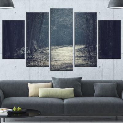 Designart Dark Forest With Empty Road Forest Canvas Art Print - 5 Panels