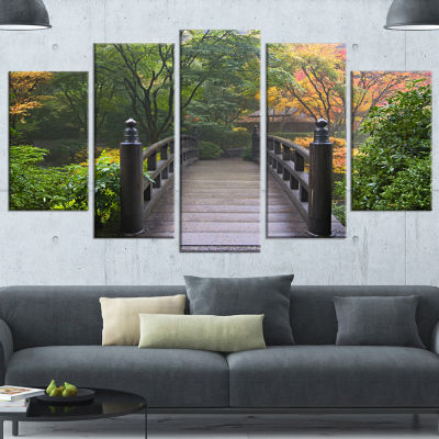 Designart Wood Bridge At Japanese Garden In FallBridge Canvas Art Print - 4 Panels