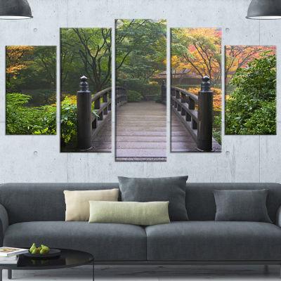 Designart Wood Bridge At Japanese Garden In FallBridge Wrapped Canvas Art Print - 5 Panels