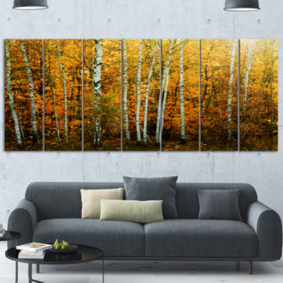 Designart Yellow Colorful Autumn Forest Forest Canvas Art Print - 4 Panels