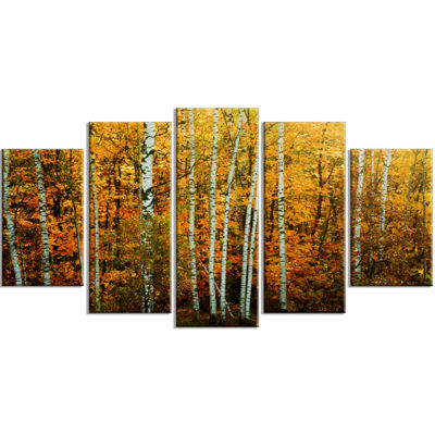 Designart Yellow Colorful Autumn Forest Forest Wrapped Canvas Art Print - 5 Panels