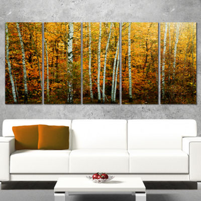 Designart Yellow Colorful Autumn Forest Forest Canvas Art Print - 5 Panels
