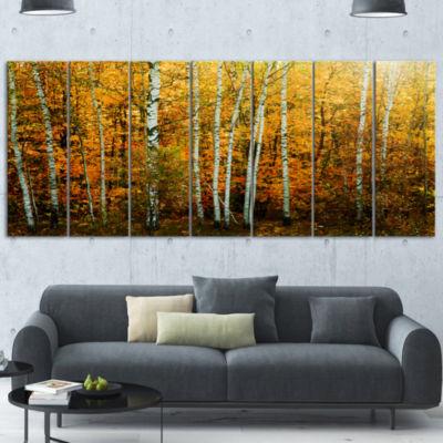 Design Art Yellow Colorful Autumn Forest Forest Canvas Art Print - 7 Panels