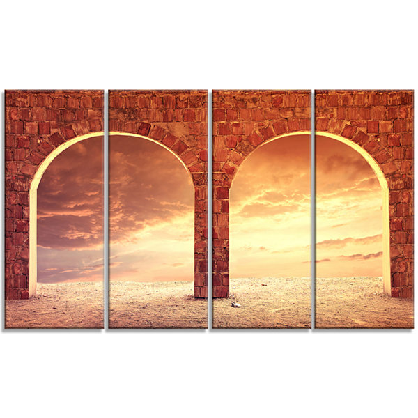 Design Art Fantasy Background With Two Arches Landscape Canvas Art Print - 4 Panels