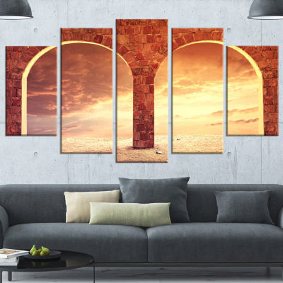 Fantasy Background With Two Arches Landscape Canvas Art Print - 4 Panels