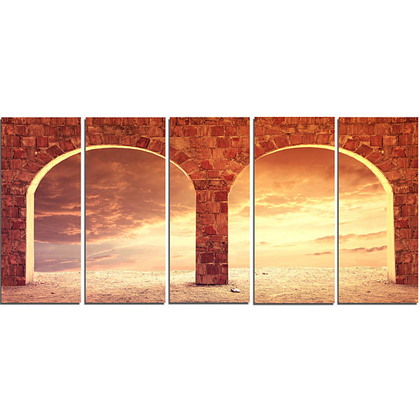Designart Fantasy Background With Two Arches Landscape Canvas Art Print - 5 Panels