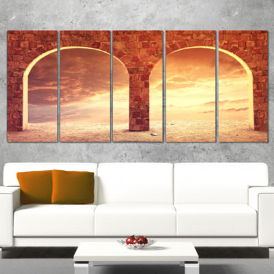 Fantasy Background With Two Arches Landscape Canvas Art Print - 5 Panels