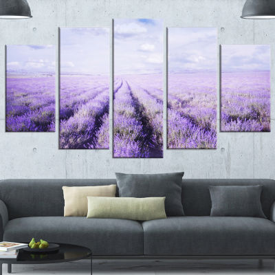 Fields Of Lavender Against Blue Sky Landscape Canvas Art Print - 4 Panels