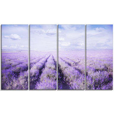 Designart Fields Of Lavender Against Blue Sky Landscape Canvas Art Print - 4 Panels