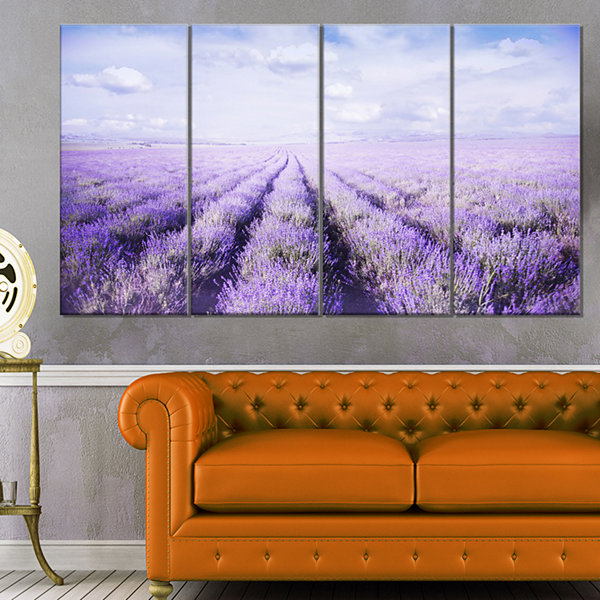 Design Art Fields Of Lavender Against Blue Sky Landscape Canvas Art Print - 4 Panels