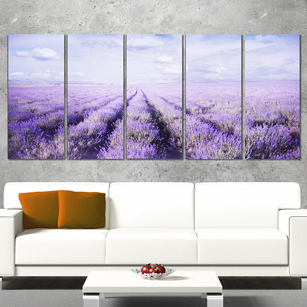 Designart Fields Of Lavender Against Blue Sky Landscape Canvas Art Print - 5 Panels