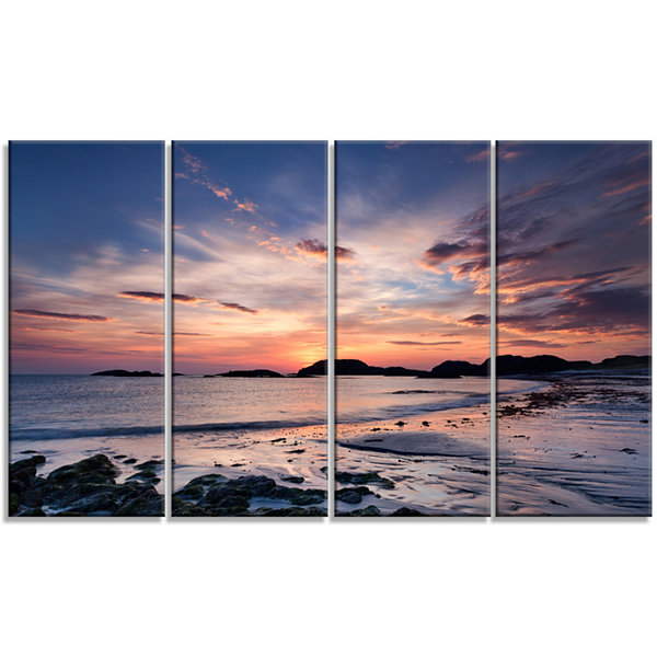 Designart Dramatic Sky At Sunset On Isle Of IonaSeashore Canvas Art Print - 4 Panels