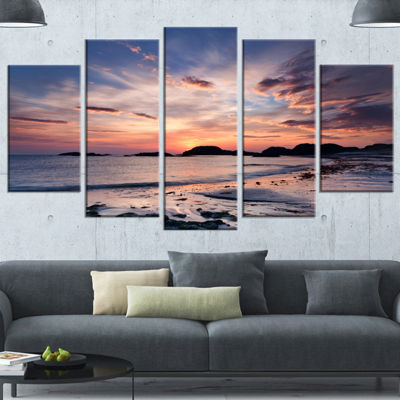 Designart Dramatic Sky At Sunset On Isle Of IonaSeashore Wrapped Canvas Art Print - 5 Panels