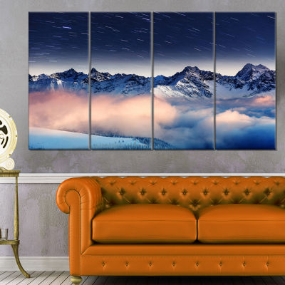 Milky Way Over Frosted Mountains Landscape CanvasArt Print - 4 Panels