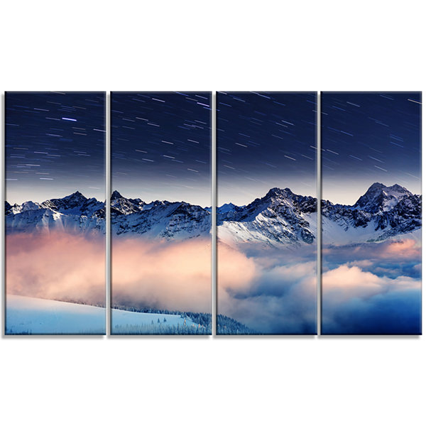 Designart Milky Way Over Frosted Mountains Landscape Canvas Art Print - 4 Panels