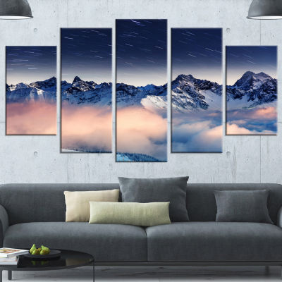 Designart Milky Way Over Frosted Mountains Landscape Canvas Art Print - 5 Panels