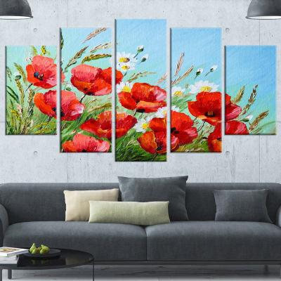 Designart Poppies In Field Against Blue Sky FloralCanvas Art Print - 4 Panels