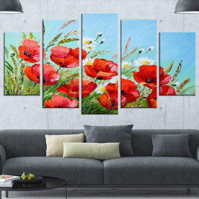 Designart Poppies In Field Against Blue Sky LargeFloral Canvas Art Print - 5 Panels