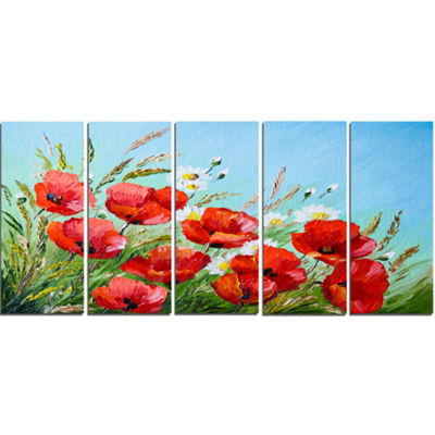 Designart Poppies In Field Against Blue Sky FloralCanvas Art Print - 5 Panels