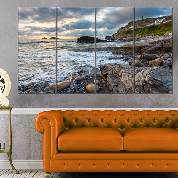 Designart Priests Cove Cape Cornwall Large Seashore Canvas Art Print - 4 Panels